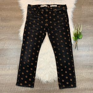 Pilcro Slim Straight Jeans Embroidered Floral 31